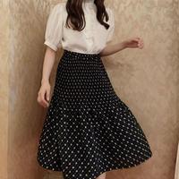 monotone dot flower skirt