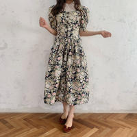 square neck flower one-piece