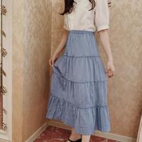 blue tiered vintage skirt