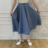 blue retro flower flare skirt