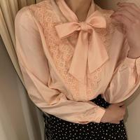 coral pink ribbon tie blouse