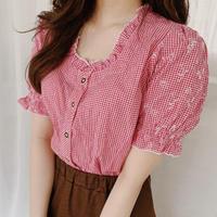 gingham check vintage  blouse
