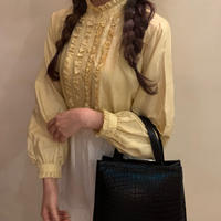 lemon color spring frill blouse
