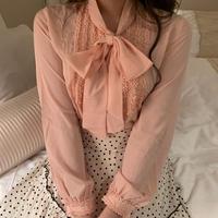 chiffon ribbon tie frill blouse