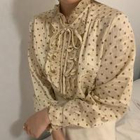 beige dot frill blouse