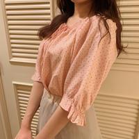 dot pink blouse