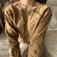 rose ponpon beige knit
