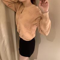 pink pompom knit cardigan