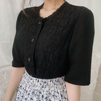 classical black lace blouse
