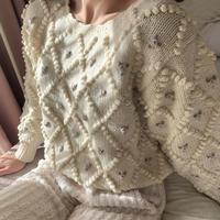 ponpon flower vintage knit