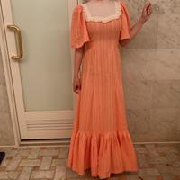70s coral orange long dress