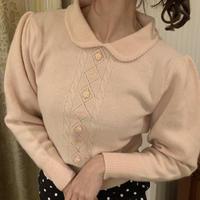 retro pink collar knit