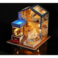 CUTEBEE ドールハウス 1:24 クラフトキット 手作り DIY ミニチュア LED  エレガントハウス2
