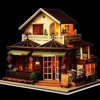 CUTEBEE ドールハウス 1:24 クラフトキット 手作り DIY ミニチュア LED コーヒーハウス