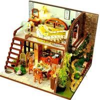 【ドールハウス】手作りDIYキット  ミニチュアハウス LEDライト付 中華風ハウス