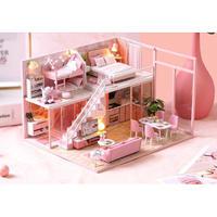 【ドールハウス】手作りDIYキット  ミニチュアハウス LEDライト付 DREAM HOUSE ピンク