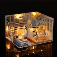 CUTEBEE ドールハウス 1:24 クラフトキット 手作り DIY ミニチュア LED 洋風ハウス1