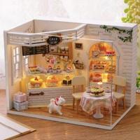 CUTEBEE ドールハウスドールハウス 1:24 クラフトキット 手作り DIY ミニチュア LED ケーキショップ  猫