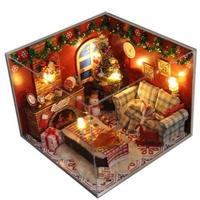 CUTEBEE ドールハウス 1:24 クラフトキット 手作り DIY ミニチュア LED 北欧 クリスマス1