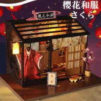【ドールハウス】手作りDIYキット  ミニチュアハウス LEDライト付 さくら 着物 和風ハウス