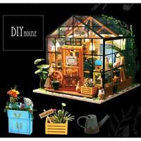 DIY HOUSEドールハウス 1:24 クラフトキット 手作り LED付 ミニチュア フラワーハウス
