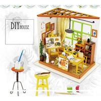 DIY HOUSEドールハウス 1:24 クラフトキット 手作り LED付 ミニチュア ペインティングルーム