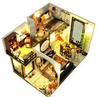 【ドールハウス】手作りDIYキット  ミニチュアハウス LEDライト付 中華風ハウス2