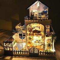 CIKOO ドールハウス 1:24 クラフトキット 手作り DIY  LED付  ビッグサイズ ヴィラ