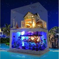Topacc ドールハウス 1:24 クラフトキット 手作り DIY ミニチュア LED ハワイヴィラ