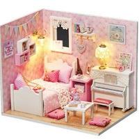 ドールハウス 1:24 クラフトキット 手作り  DIY LED付 ピンク プリンセスルーム