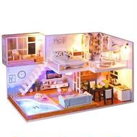 CUTEBEE ドールハウス 1:24 クラフトキット 手作り DIY ミニチュア LED 洋風ハウス5