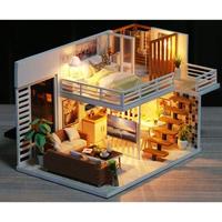 CUTEBEE ドールハウス 1:24 クラフトキット 手作り DIY ミニチュア LED 洋風ハウス4