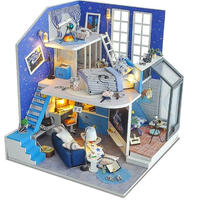 【ドールハウス】手作りDIYキット  ミニチュアハウス LEDライト付 ブルーハウス