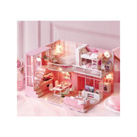 【ドールハウス】手作りDIYキット  ミニチュアハウス LEDライト付 DREAM ANGELS ピンク
