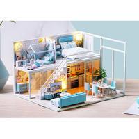 【ドールハウス】手作りDIYキット  ミニチュアハウス LEDライト付 DREAM HOUSE ブルー