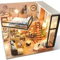【ドールハウス】手作りDIYキット  ミニチュアハウス LEDライト付 洋風ハウス