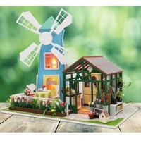 CUTEBEE ドールハウス 1:24 クラフトキット 手作り DIY ミニチュア ローズガーデン 風車小屋
