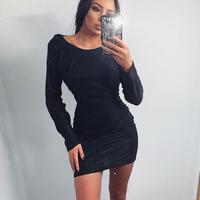 BLACK★lamé rib  dress   one-132
