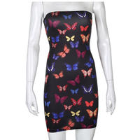 BLACK★colorful  butterfly  bare  dress   one-81