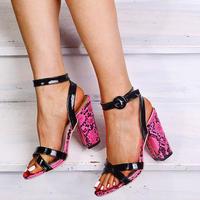 PINK★python★chunky heel sandal  sho-19