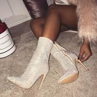 WHITE★ rhinestone  short  boots  sho-120