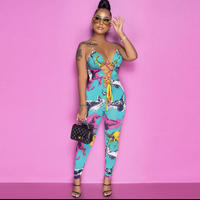 BLUE★horse print  jump suits  one-279