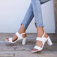 WHITE★braid  chunky heel  sho-21
