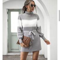 GRAY★border dress  one-190