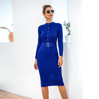 BLUE★rib  belt  dress  one-202