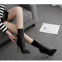 BLACK★ side rhinestone  short  boots  sho-123