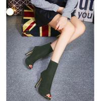 KHAKI★knit  short  boots  sho-125