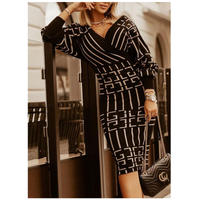 即納★BLACK★v line dress  one-236