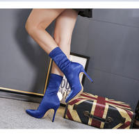 BLUE★simple  short  boots   sho- 90