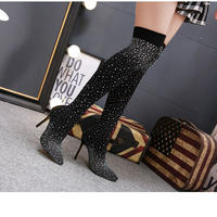 BLACK★ rhinestone  long  boots  sho-119